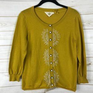 [HWR Monogram] Mustard Yellow Embroidered Cardigan